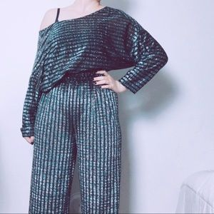 70s 80s Glitter Silver Blue Turquoise Matching Set